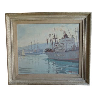 1958 Fritz Kocher Trujillo Yacht (Sea Cloud) and Freighter Oil on Canvas Painting, Framed For Sale