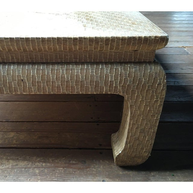 Asian 20th Century Regency Baker Raffia Wrapped Ming-Leg Coffee Table For Sale - Image 3 of 6