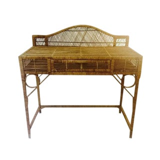 Mid Century Modern Rattan Desk Vintage Vanity or Console Table For Sale