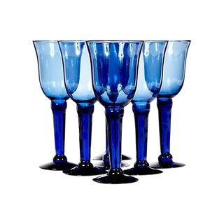 Cobalt Glass Tall Wine Stems - Set of 7