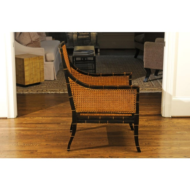 Beautiful Restored Pair of Large-Scale Double-Sided Cane Club Chairs For Sale - Image 4 of 9