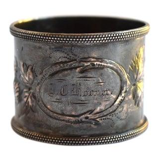 19th Century Antique Victorian Repoussé Napkin Ring Holder For Sale