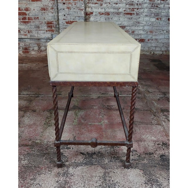1950s Vintage Wrought Iron & Leather Top Sofa Table Console For Sale - Image 5 of 10