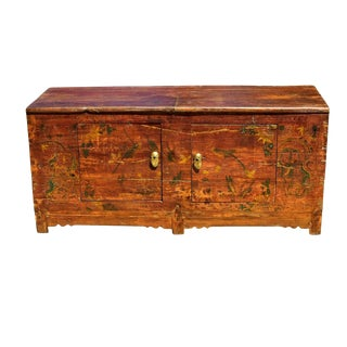 Antique Foo Dog Painting Blanket Chest, Silk Road Region For Sale