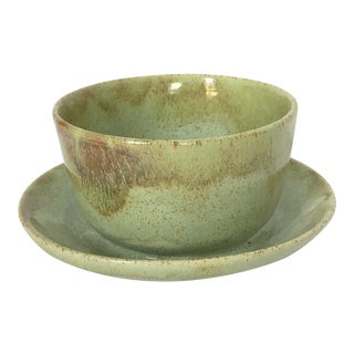 Green Ceramic Planter With Attached Saucer For Sale