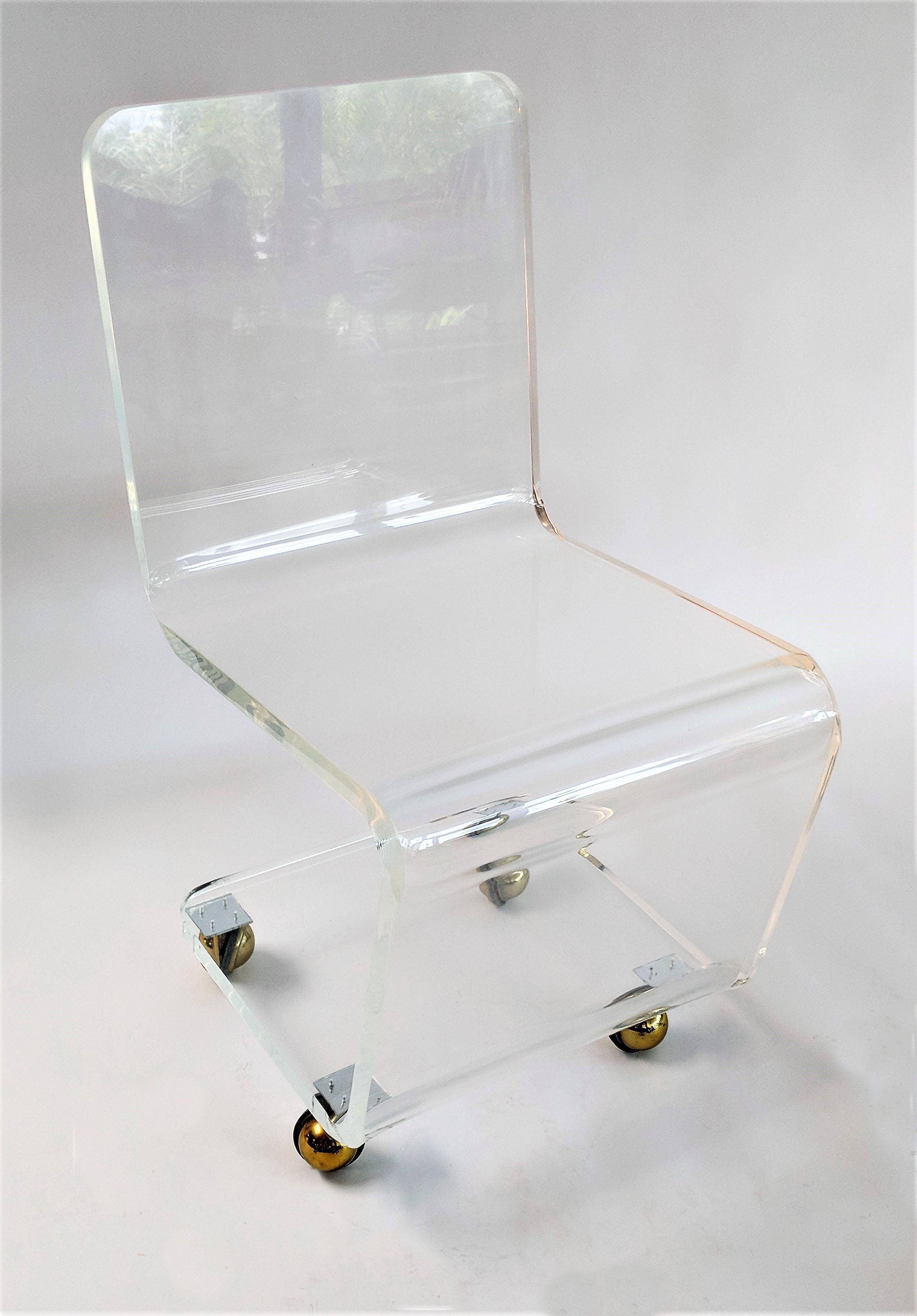 Mid Century Modern Lucite Desk Chair With Casters For Sale   Image 3 Of 11