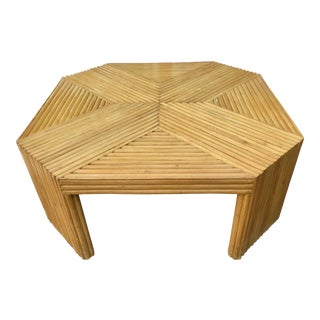 Pencil Reed Rattan Octagonal Coffee Table For Sale