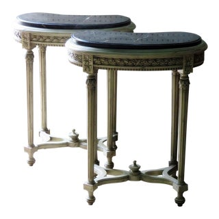 Louis XVI Petite Marble Top Demilune Consoles - a Pair For Sale