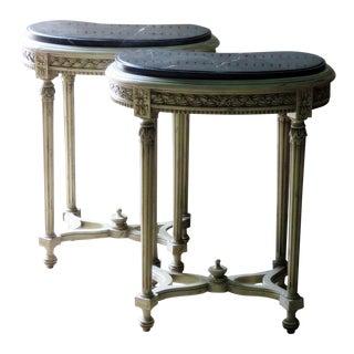 Louis XVI Petite Marble Top Demilune Consoles - a Pair