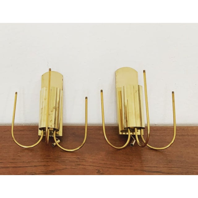 Set of 2 Mid-Century Modern Brass and Ice Glass Wall Sconces by Doria For Sale In Los Angeles - Image 6 of 8