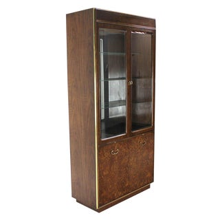 Pair of Burl Walnut Brass and Glass Show Case Curio Cabinets For Sale