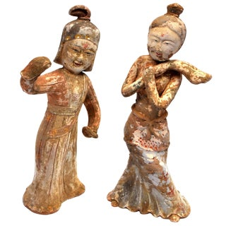 20th Century Chinese Pottery Figure Dancers - a Pair For Sale