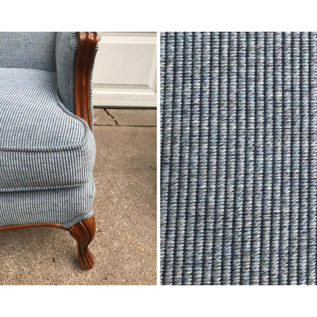 Vintage Light Blue Upholstered Bergere Chairs - A Pair - Image 8 of 10