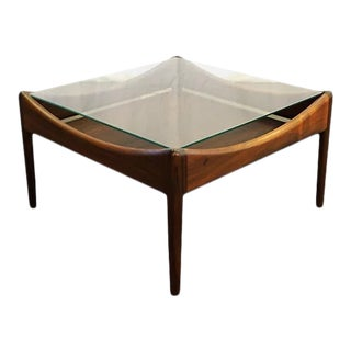Original Danish Mid Century Rosewood Side Table With Glass Top For Sale
