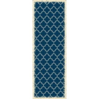 Quaterfoil Design Blue & White Rug - 2 X 6