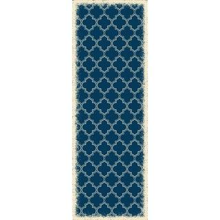 Quaterfoil Design Blue & White Rug - 2 X 6