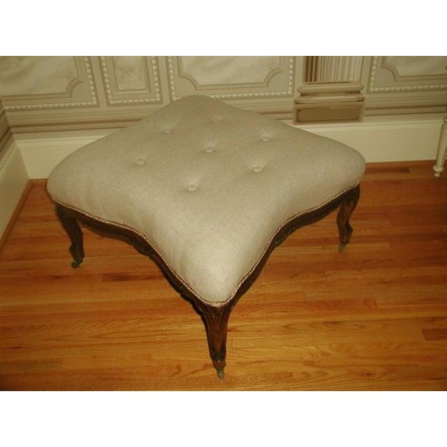 French 1850s Upholstered Walnut Stool - Image 2 of 7