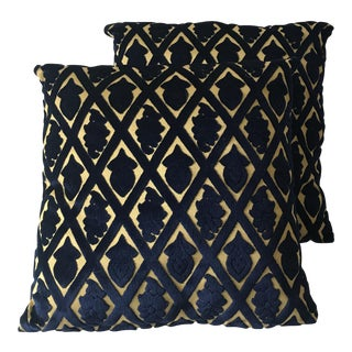Moroccan Blue and Gold Velvet Pillows - A Pair