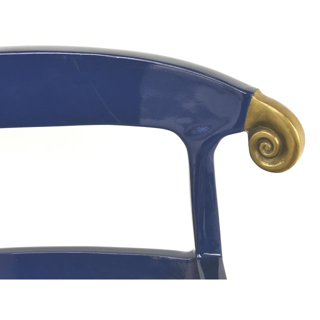 Blue Klismos Ram's Horn Lacquered Arm Chairs- a Pair For Sale - Image 8 of 10