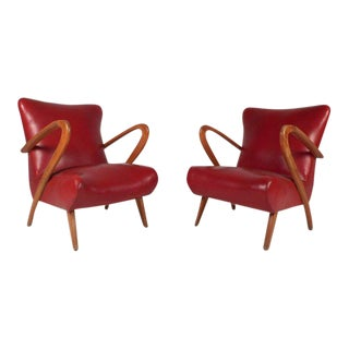 Vintage Paolo Buffa Modern Italian Lounge Chairs - a Pair