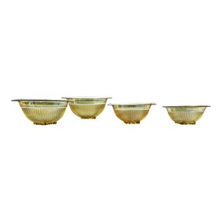 1930s Federal Depression Glass Mixing Bowl Set - 4 Piece Set For Sale