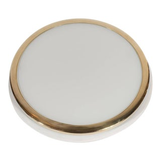 Mid-Century Scandinavian Recessed Flush Mounts with Brass and Frosted Glass
