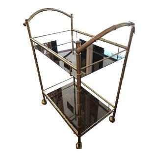 Mid Century Modern Bamboo Brass Bar Cart