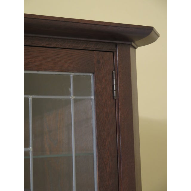 C.1987 Details: 34 Eastwood Finish Adjustable Glass Shelves High Quality Construction Lighted Interior Nice Leaded Glass...