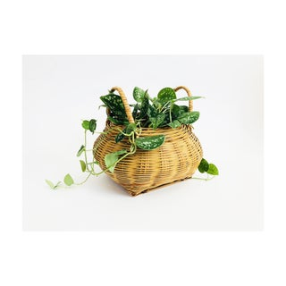 Vintage Medium Woven Basket With Handles Preview