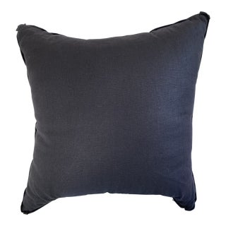 Black Belgian Linen Pillow With Butterfly Corners For Sale