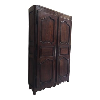 19th Century French Provincial Walnut Armoire Linen Press For Sale