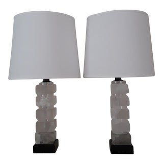 Rock Crystal Table Lamps - A Pair For Sale