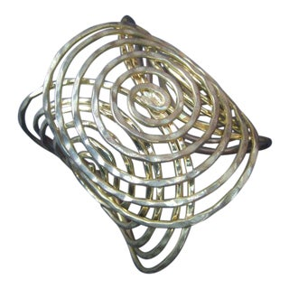 Massive Gilt Metal Coiled Wire Huge Cuff Bracelet C 1970s For Sale