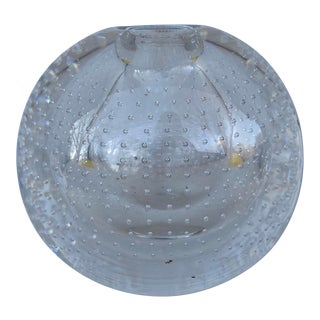 Controlled Bubble Glass Orb Bud Vase For Sale
