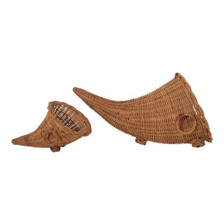 Vintage Mid-Century Wicker Cornucopia Baskets - A Pair For Sale