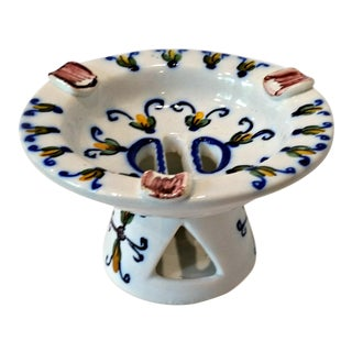 Vintage Portuguese Faience Hand Painted Pottery Pedestal Ashtray For Sale
