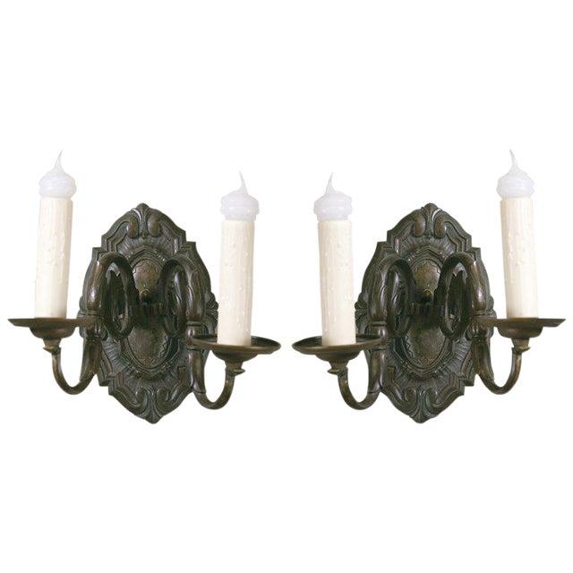 Pair Belgian Flemish Baroque-Style Bronze Sconces, circa 1910 For Sale