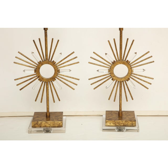 Contemporary Gilt Metal Sunburst Lamps For Sale - Image 3 of 10