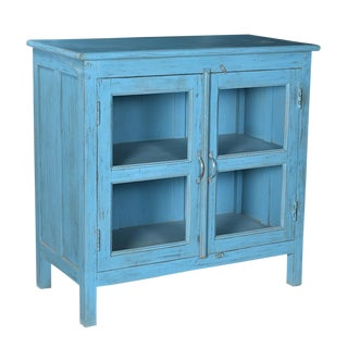 Rustic Blue Side Cabinet For Sale