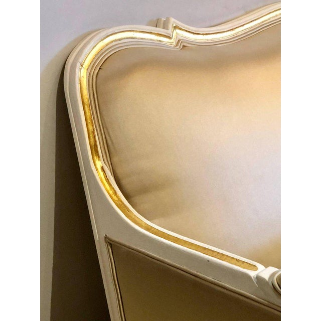 Gilt and Paint Decorated Settee / Loveseat in a Fine Satin Upholstery For Sale In New York - Image 6 of 13