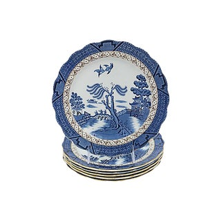 English Willow Dinner Plates - S/6 For Sale