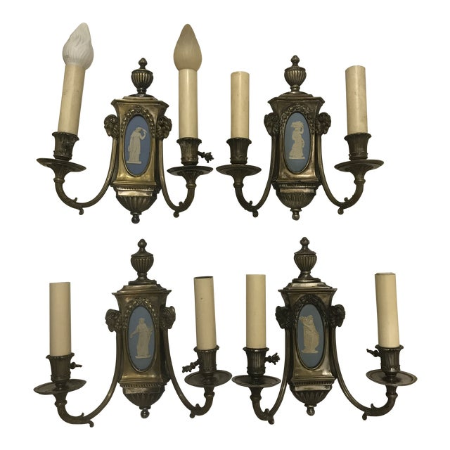 20th Century Empire Wedgwood and Brass Double Arm Electrified Sconces - Set of 4 For Sale