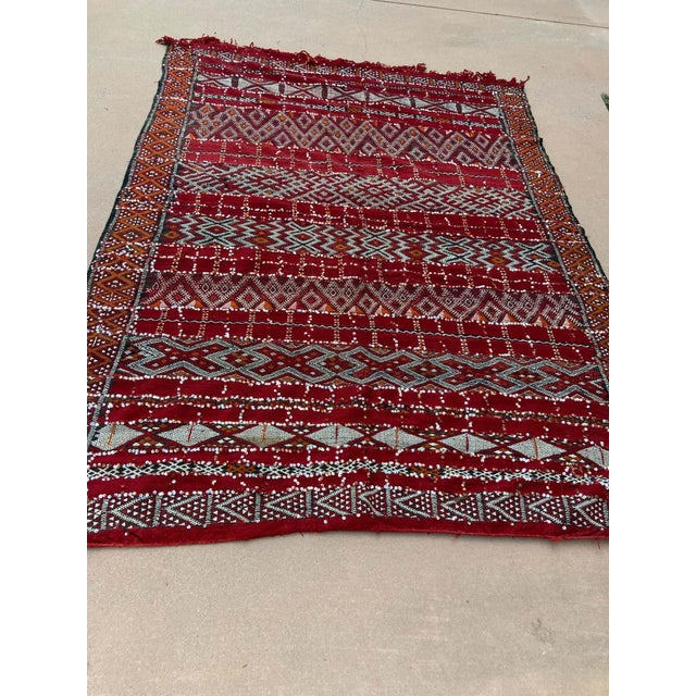 Moroccan Vintage Ethnic Textile with Sequins North Africa, Handira For Sale In Los Angeles - Image 6 of 13