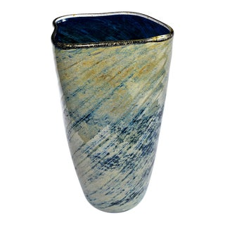 Tall Blue and Green Art Glass Vase With Black Lip For Sale