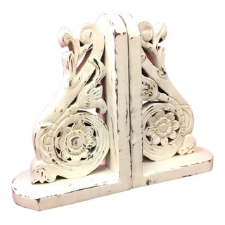 Hand Carved Wooden Open Work Bookends - a Pair For Sale