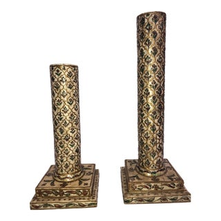 John Richard Collection Hand Painted Antiqued Faux Ivory Candlestick Pillars - a Pair For Sale