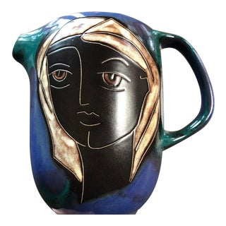 Ceramic Hand-Crafted Mara Mexico Pitcher For Sale