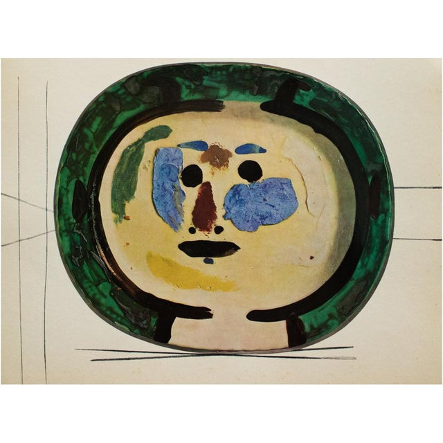 1950s 1955 Pablo Picasso Living Face Ceramic Plate, Original Period Swiss Lithograph For Sale - Image 5 of 6