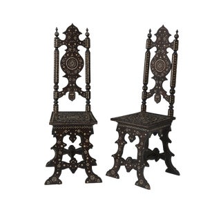 Late 19th Century Vintage Italian Hall Chairs- A Pair For Sale
