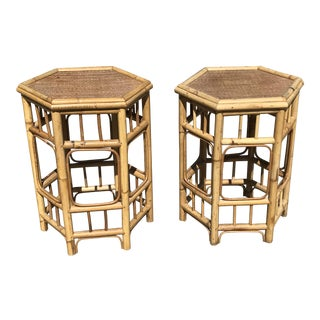 Hexagon Bamboo Side Tables - A Pair